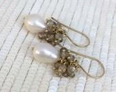 CUPID SALE xOx Sapphire Cluster Earrings Pearl Gemstone Cluster Earrings 14kt Gold Fill  September Birthstone Sapphire Pearl Wedding Earring