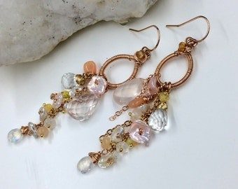 Rose Gold Hoop Keishi Pearl Opal Dangle Earrings Wire Wrap Tassel Earrings Blush Keishi Peach Opal Moonstone Romantic Bohemian Earrings