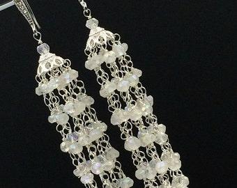 SALE White Tassel Earring Wire Wrap Sterling Silver Mystic Quartz Bridal Earring White Wedding Earring Handmade Wedding Jewelry Romantic Boh