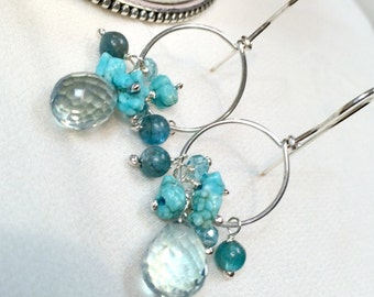 Silver Hoop Earrings Gemstone Wire Wrapped  Silver Teal Quartz, Turquoise, Apatite, Blue Green Earrings, All in One Hoop Everyday Earring