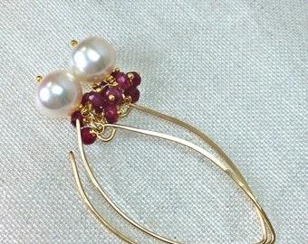 VALENTINES SALE Ruby Pearl Earrings Ruby Cluster Long Dangle Earrings Gold Fill Elongated Pearl Ruby Cluster Earrings July Birthstone Minima