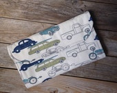 Retro Cars and Trucks Diaper Clutch with Changing Pad - Boy - Green - Blue - Trucks  - vintage