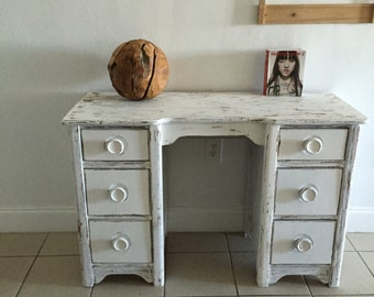 Shabby chic  Desk, white, shabby chic, coastal living, sofa table, Vintage entryway table, french country, farm