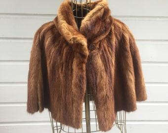 vintage mink brown shawl bolero with side pockets 1970s