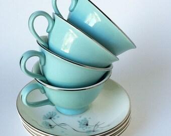 Vintage 50's Cups and Saucers, Aqua China Tea Cups, Retro Kitchenware, Dandelion, Set of Four