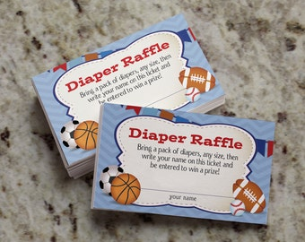 Oh Boy! Little All-Star MVP Sports-Themed Diaper Raffle Tickets -  INSTANT DOWNLOAD - BAB14_DR