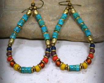 Turquoise Earrings, Tribal Jewelry, Turquoise Heishi, Beaded Hoop Earrings, Large Earrings, Tribal Earrings, Bohemian Earrings, Boho Jewelry