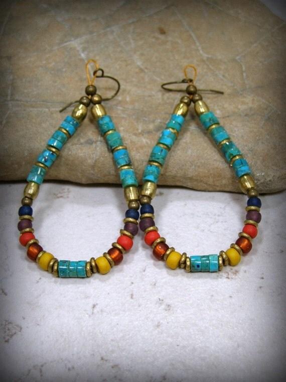 Turquoise Earrings, Tribal Jewelry, Turquoise Heishi, Beaded Hoop Earrings, Large Earrings, Tribal Earrings, Bohemian Earrings, Boho Jewelry