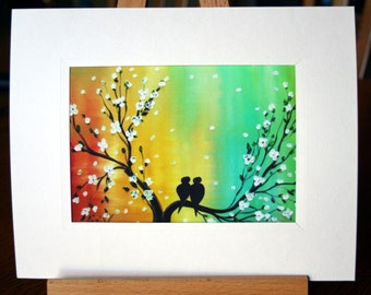 Love Birds Painting Print Giclee Print on Paper by Luiza Vizoli