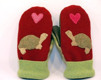 Sweater Recycled Wool Mittens Red and  Green Turtle Applique Leather Palm Fleece Lining Eco Friendly Size M