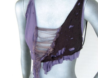 Beautiful Decay,tattered,distressed,lavender evening,delicate halter top,tattered pixie, deconstructed, innocence lost:Renegade Icon Designs