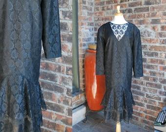 60s XL Black Lace Drop Waist Dress with Ruffles, size 22 US, 22w, 3x, Curvy Woman