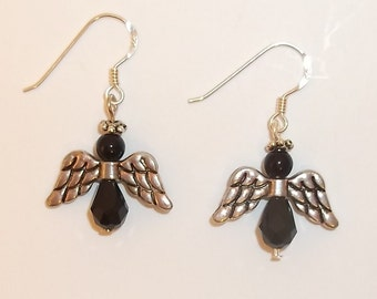 Black and Silver Angel Earrings - 1397