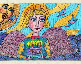 Birthday Angel Print of original pen and ink and colored pencil drawing