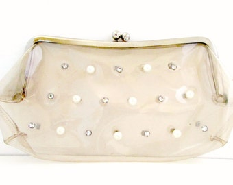 Vintage See Through Clutch Handbag Purse Hand Bag Clutch with Rhinestones and Pearls 1950s