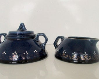 Vintage Cobalt Blue Cream and Sugar Creamer and sugar Hand Painted