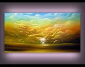 acrylic contemporary folk art acrylic painting original painting abstract landscape cloud painting tree landscape tree painting 24 x 48