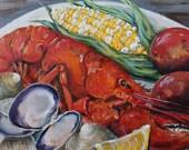 New England Clambake Maine Lobster Original Summertime Coastal Seafood Beach Art by Kristine Kainer