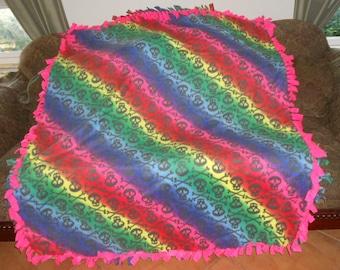 Skulls on Ombre Rainbow Neon Pink Back Fleece Tie Blanket No Sew Fleece Blanket 60x72 Approximate size
