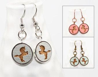 Unicorn Dangle Earrings - Laser Engraved Wood (Choose Your Color)