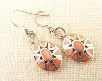 Vintage Sterling Oval Coral and Enamel Pattern Earrings