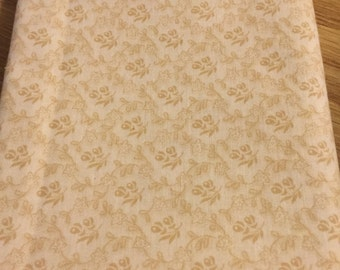 Tone on tone flower fabric, beige, light tan background cotton print. quilting, sewing,  Half-yard
