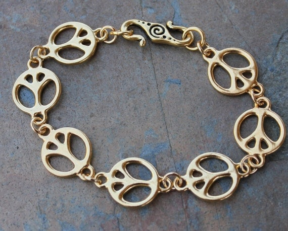 Peace out bracelet - 24k gold plated pewter peace signs and S-clasp - made in the USA - free shipping in USA