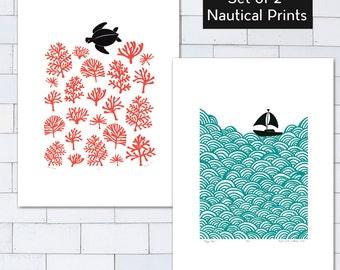 Set of 2 x A2 size Nautical Prints - Save 25% (Unframed)