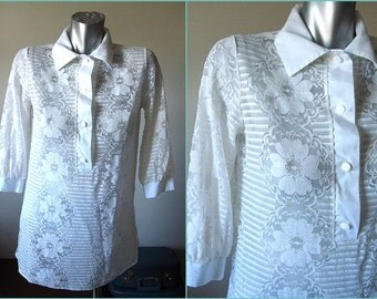 Vintage 60s White Lace Collared Tunic Top Size M