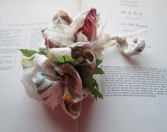 Corsage * Vintage Fabric Corsage * Moms ~ Grandmoms ~ Friends and Wedding Party * Pin On Corsage