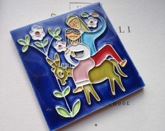 Two Vintage Tiles *  Creazioni Luciano Italy * Salerno Pottery * Ceramic Cloisonné * Colorful * Moorish-Arabic , Gifts , Art , Home Decor