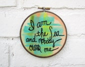 the I Am the Sea hoop ... one of a kind, Pippi Longstocking embroidery hoop