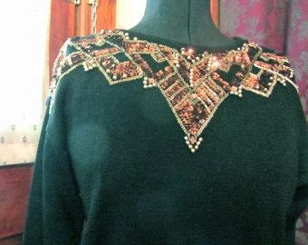 Beaded Sweater Vintage 1980's