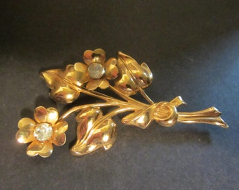 "Gold and Rhinestone ""Coro""  Floral Spray Brooch Vintage Antique"