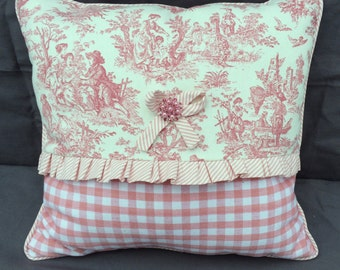 Pink Toile, Pink Check and Pink Stripe Shabby Chic Pillow with Sparkle Button