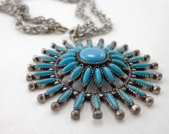 Turquoise Necklace Southwestern Faux Domed Signed 721