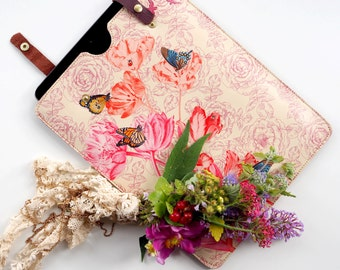 Leather iPad or Large Tablet Case - Springtime Floral Printed Design