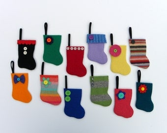 Advent Calendar -Rescued Wool Mini Stocking Ornaments - 2015 Set J - set of 25 - recycled sweater wool by alicia todd