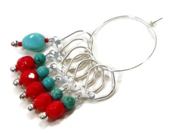 Removable Stitch Markers Crochet Row Markers Opaque Red Turquoise Locking Knitting Supplies DIY Crafts