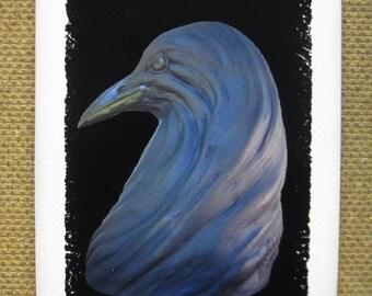 Raven Crow Statue, 5 x 7 Art Print, Gothic