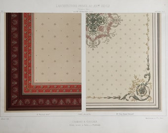 Large Antique Print of Ceiling Designs for Bedrooms -  1800s Chromolithograph