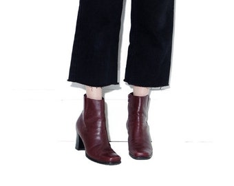 OMG HALF OFF Burgundy Siena leather boots 9 M // womens boots chunky boots ankle boots tall skinny booties chelsea boots square toe