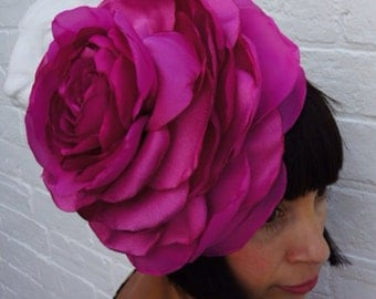 Giant recycled magenta pink rose flower headpiece