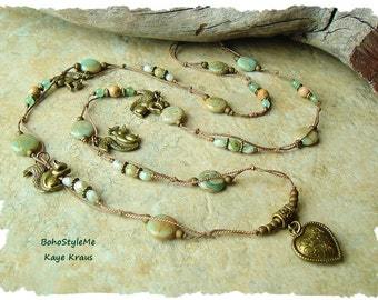 Bohemian Jewelry, Squirrel Jewelry, Nature Inspired, Rustic Layered Necklace, Hand Knotted, BohoStyleMe, Kaye Kraus