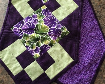 Table Runner in Purples and Greens