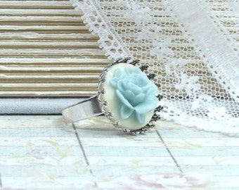 Blue Cameo Ring Blue Flower Ring Rose Cameo Ring Blue Rose Ring Victorian Ring Blue Cameo Ring