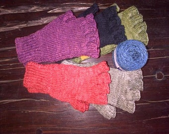 Hand knitted organic cotton/ bamboo gloves