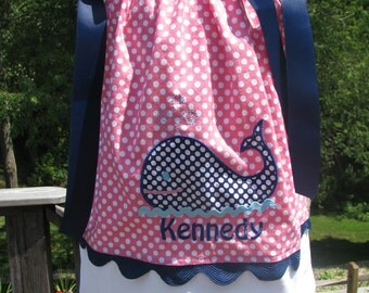 blue and pink whale applique pillowcase dress,1st birthday dress, smash cake photo, 2nd birthday, pillowcase dress, navy whale, pink polka
