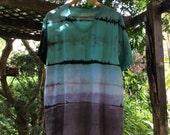 Mens XXL multicolor blue Shibori Landscape Tie Dye t-shirt v neck (Shibori rain)