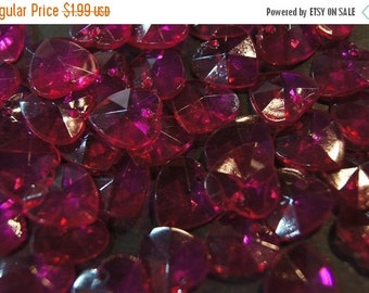 ON SALE CLOSEOUT Sale - Faceted French Raspberry Heart Shape Lucite Beads - 14mm - 50 pcs